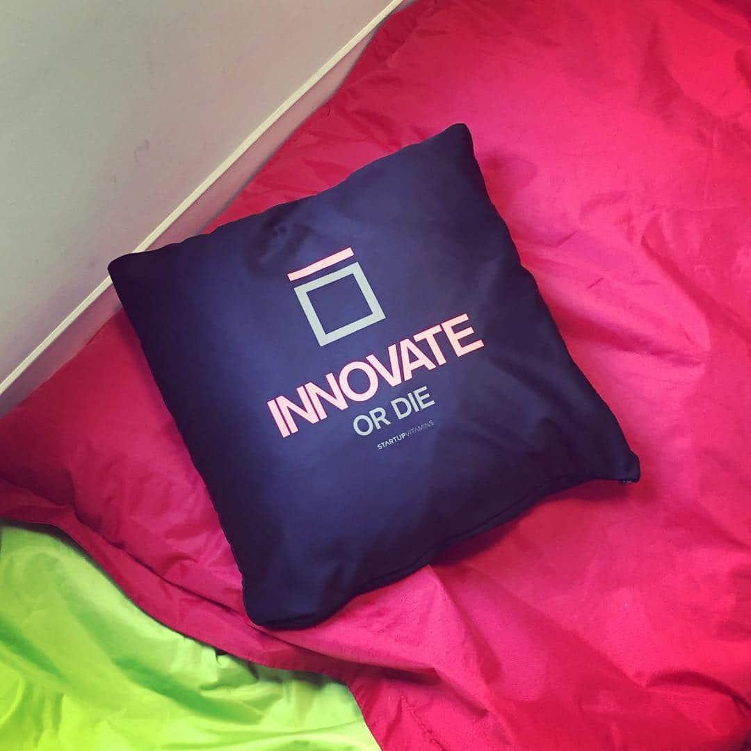 """Photo d'un coussin avec l'écriture """"Innovate or die"""""""