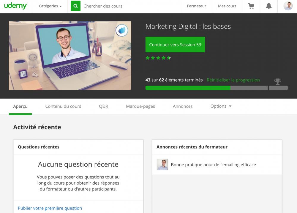 Photo de l'écran d'accueil de la formation en ligne Marketing digital : les bases sur Udemy