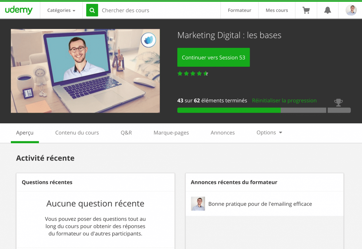 Photo de l'écran d'accueil de la formation en ligne Marketing digital : les bases sur Udemy